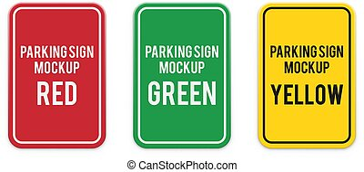 Set of classic colored vertical attention parking signs.