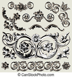 Set Of Classic Floral Decoration Elements, editable vector...