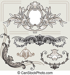 Set Of Classic Floral Decoration Elements, editable vector...