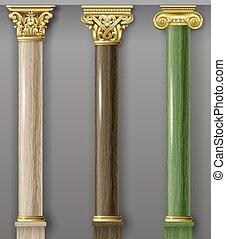 Set of classic gold and marble columns