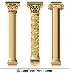 Set of classic gold columns in different styles. Vector...