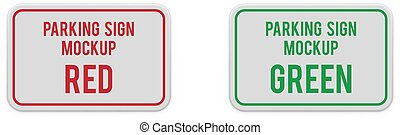 Set of classic horizontal parking attention signs.