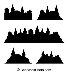 Set of classic medieval castle, fortress, stronghold silhouetes.