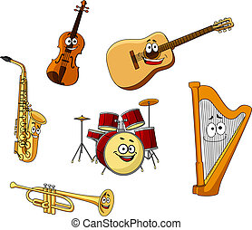 Set of classic musical instruments