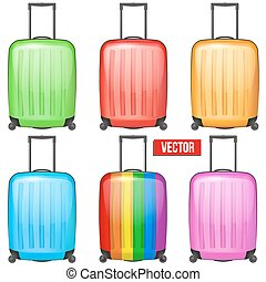 Set of Classic plastic luggage suitcase for air or road travel