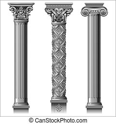 Set of classic silver columns