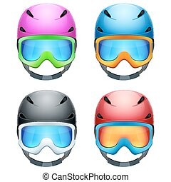 Set of Classic Ski helmets and snowboard goggles. Vector isolated on white background