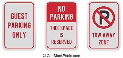 Set of classic vertical parking attention signs.