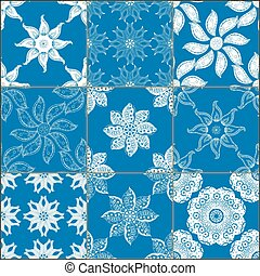 set of classical blue ceramic tiles