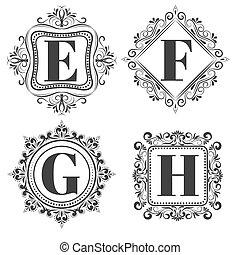 Set of classical logo or monogram design. Letters E, F, G,...