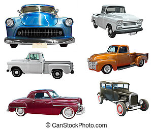 Set of classical vintage automobiles. Isolated over white