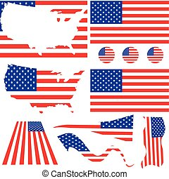 Set of classics USA flags