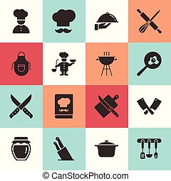 Set of clean icons featuring various kitchen utensils and cooking related objects.