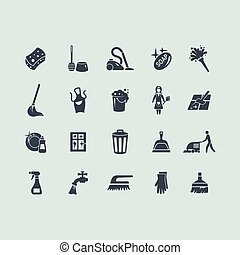 Set of cleaning icons - cleaning vector set of modern simple...