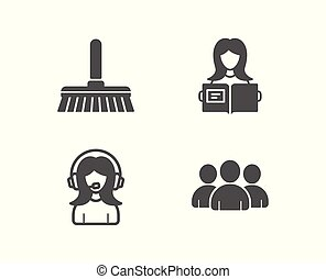 Cleaning mop, Woman read and Support icons. Group sign. Sweep a floor, Girl studying, Call center.