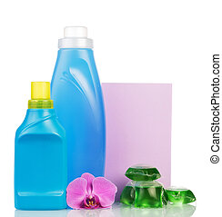 Set of cleaning products on white background