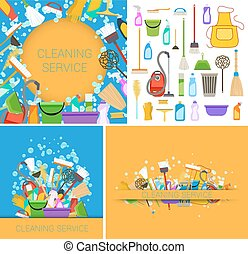 set of cleaning service backgrounds. vector