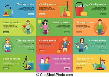 Set of Cleaning Service Banners