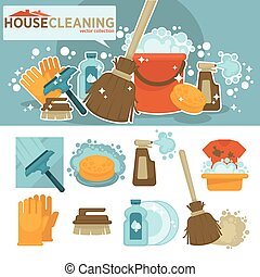 Set of cleaning service symbols.