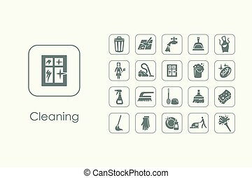 Set of cleaning simple icons