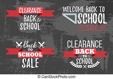 Set of Clearance Sale School Typographic.