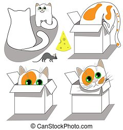 Set of clipart, cats and mouse isolated on white background.