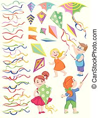 set of cliparts of children with kites