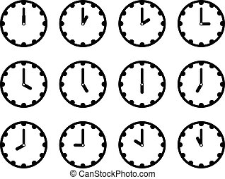 Set of clock faces simple black icons for every hour on...