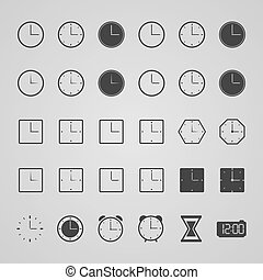 Set of clock icons, vector illustration