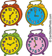 set of clock in different color