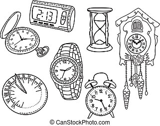 Set of clocks and watches isolated on white background - hand-drawn illustration