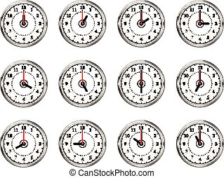 Set of clocks icons for every hour