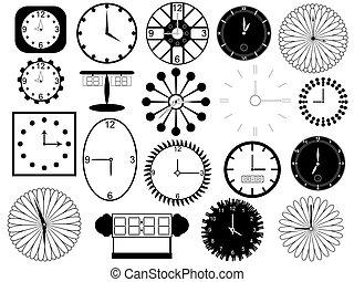 Set of clocks illustration on white background