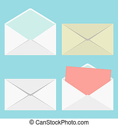 set of closed and open envelopes