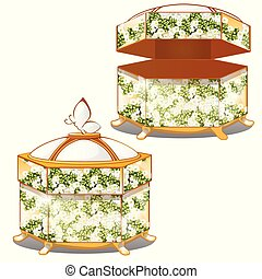 Set of closed and opened ornate gift boxes with lids green color with flower ornament isolated on white background. Vector cartoon close-up illustration.