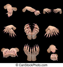 Set of closeup of hands of young woman long nail-art manicure on nails