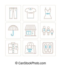 Set of clothes icons and concepts in mono thin line style