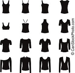 Set of clothes icons, vector illustration