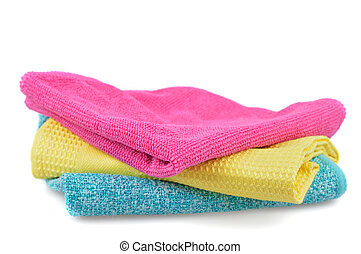 Set of colorful cloths microfiber isolated on white background. Cleaning cloth for different purposes.