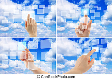 Set of cloud computing concept with woman hand close-up