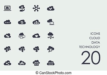 Set of cloud data technology icons