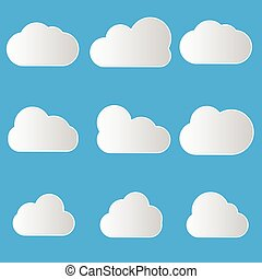 Set of Cloud Icons in trendy flat style isolated on blue background. Cloud symbol for your web site design, logo, app, UI. Vector illustration, EPS10.