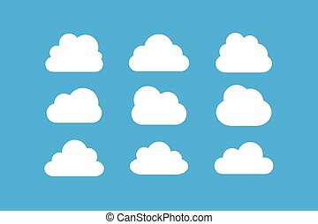 Set of cloud vector flat style for graphic design, logo, web site, social media, mobile app, ui illustration