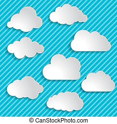 set of clouds on a blue striped background