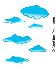 set of clouds on a white background