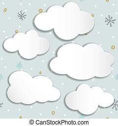 set of clouds on a winter background.
