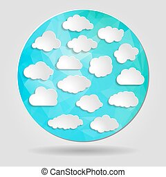 set of clouds on Abstract geometric blue circular shape from tri