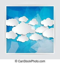 set of clouds on the Abstract Blue Triangular Polygonal backgrou