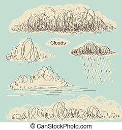 Set of clouds.Vector hand drawn doodle clouds for design -...