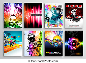 Set of Club Flyer design, Party poster templates - Set of...